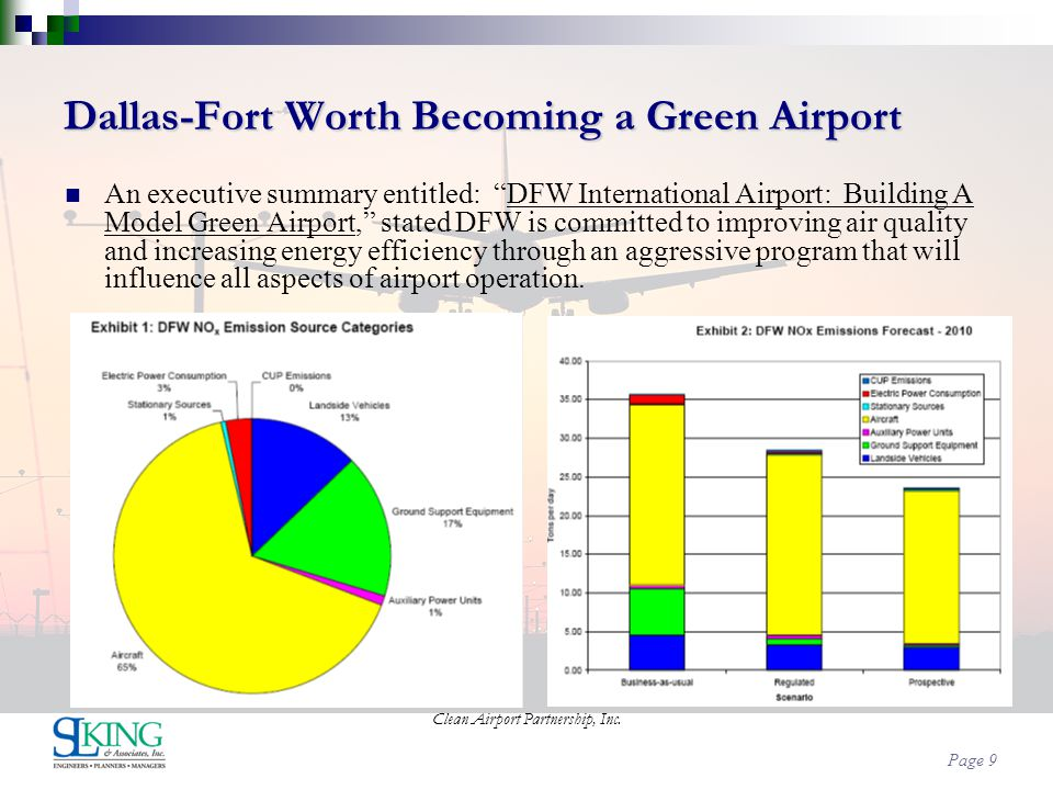 Page 9 Dallas-Fort Worth Becoming a Green Airport An executive summary entitled: DFW International Airport: Building A Model Green Airport, stated DFW
