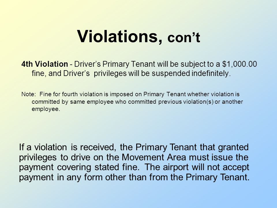 Violations, cont 2nd Violation - Drivers Primary Tenant will be subject to a $200.00 fine. Driver will receive a 30-day suspension of privileges, and