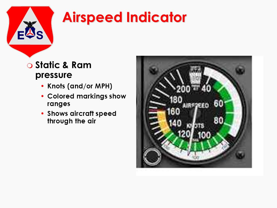 m Static & Ram pressure Knots (and/or MPH) Colored markings show ranges Shows aircraft speed through the air Airspeed Indicator