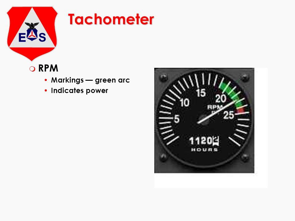 Tachometer m RPM Markings green arc Indicates power