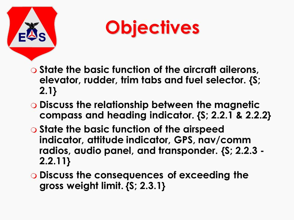 m Discuss the importance of maintaining proper balance (c.g.), and factors in computing weight & balance {S; 2.3.2} m State the purpose of the pre-flight inspection, and discuss the items checked during the pre-flight inspection.