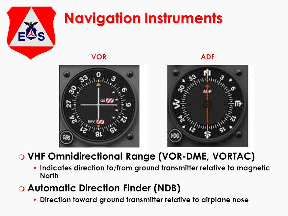 Navigation Instruments VORADF m VHF Omnidirectional Range (VOR-DME, VORTAC) Indicates direction to/from ground transmitter relative to magnetic North