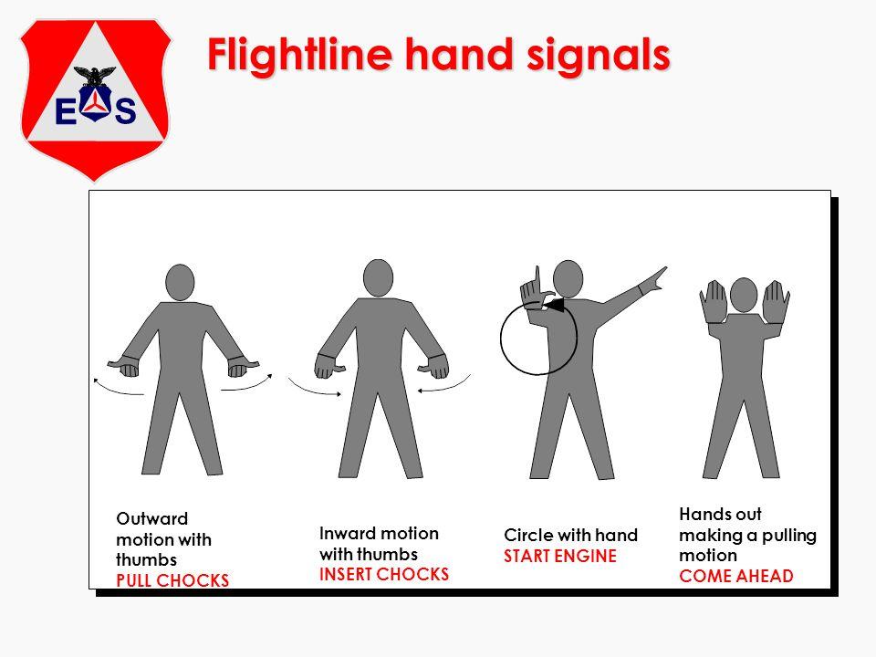 Flightline hand signals Outward motion with thumbs PULL CHOCKS Inward motion with thumbs INSERT CHOCKS Circle with hand START ENGINE Hands out making
