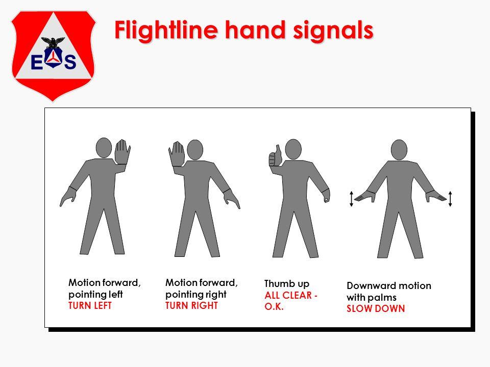 Flightline hand signals Motion forward, pointing left TURN LEFT Thumb up ALL CLEAR - O.K. Downward motion with palms SLOW DOWN Motion forward, pointin