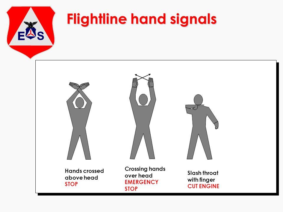 Flightline hand signals Hands crossed above head STOP Slash throat with finger CUT ENGINE Crossing hands over head EMERGENCY STOP