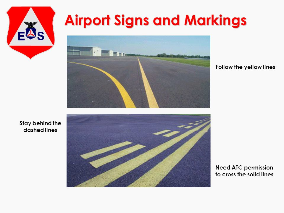 Airport Signs and Markings Follow the yellow lines Stay behind the dashed lines Need ATC permission to cross the solid lines