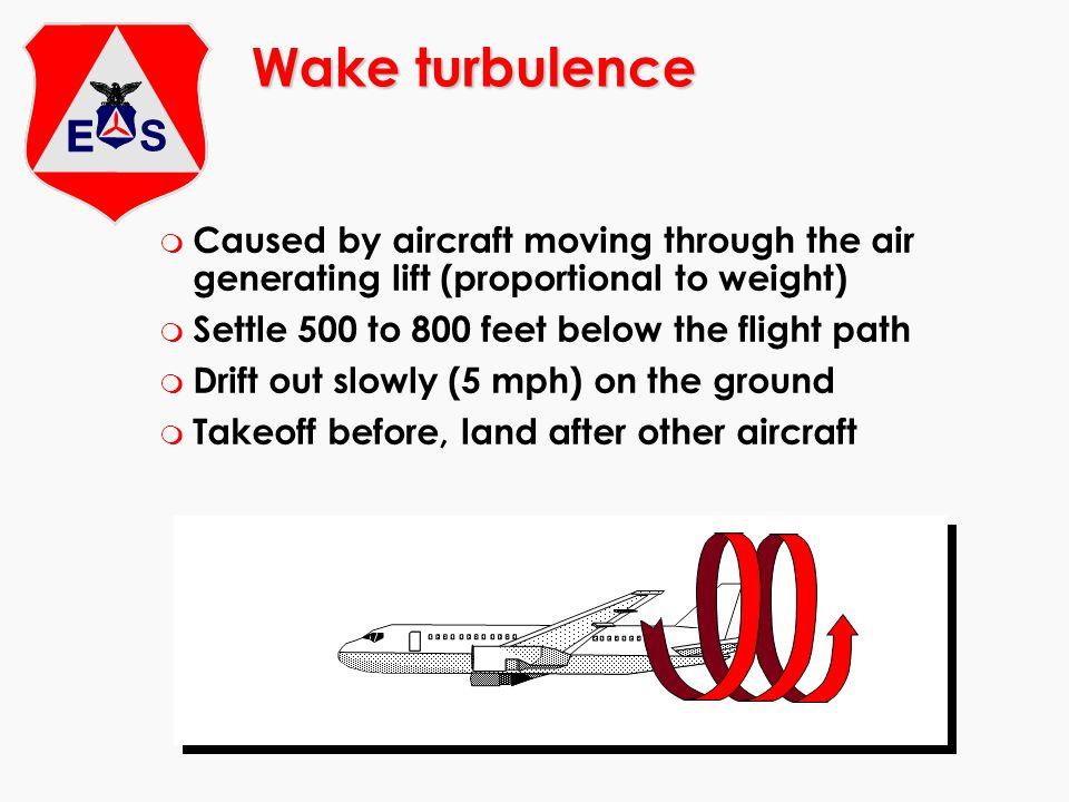 Wake turbulence m Caused by aircraft moving through the air generating lift (proportional to weight) m Settle 500 to 800 feet below the flight path m