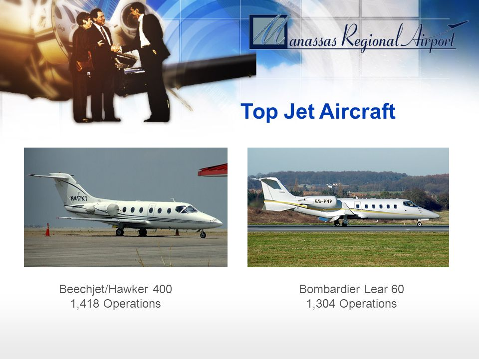 Top Jet Aircraft Beechjet/Hawker 400 1,418 Operations Bombardier Lear 60 1,304 Operations