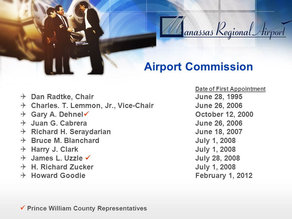 Airport Commission Date of First Appointment Dan Radtke, ChairJune 28, 1995 Charles. T. Lemmon, Jr., Vice-ChairJune 26, 2006 Gary A. Dehnel October 12