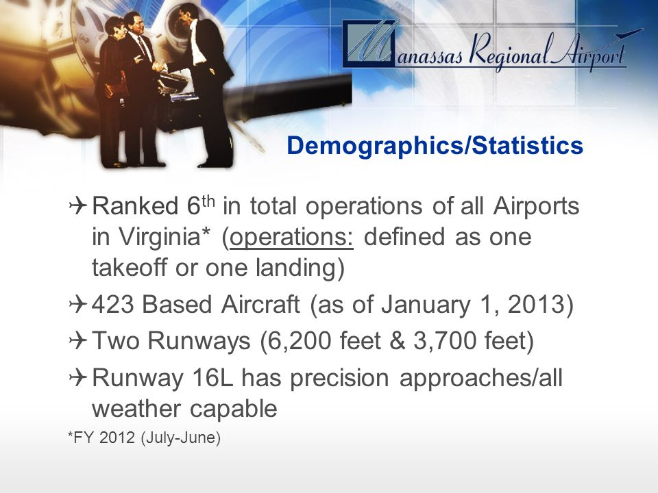 Demographics/Statistics Ranked 6 th in total operations of all Airports in Virginia* (operations: defined as one takeoff or one landing) 423 Based Air