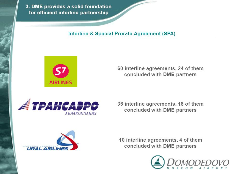 Interline & Special Prorate Agreement (SPA) 60 interline agreements, 24 of them concluded with DME partners 36 interline agreements, 18 of them conclu