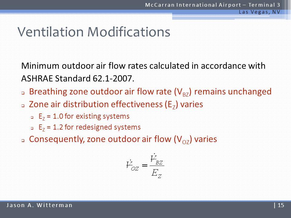Ventilation Modifications McCarran International Airport – Terminal 3 Las Vegas, NV Minimum outdoor air flow rates calculated in accordance with ASHRA