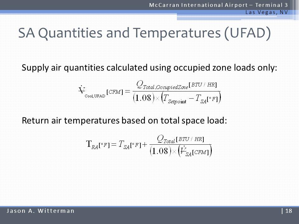 SA Quantities and Temperatures (UFAD) McCarran International Airport – Terminal 3 Las Vegas, NV Supply air quantities calculated using occupied zone l