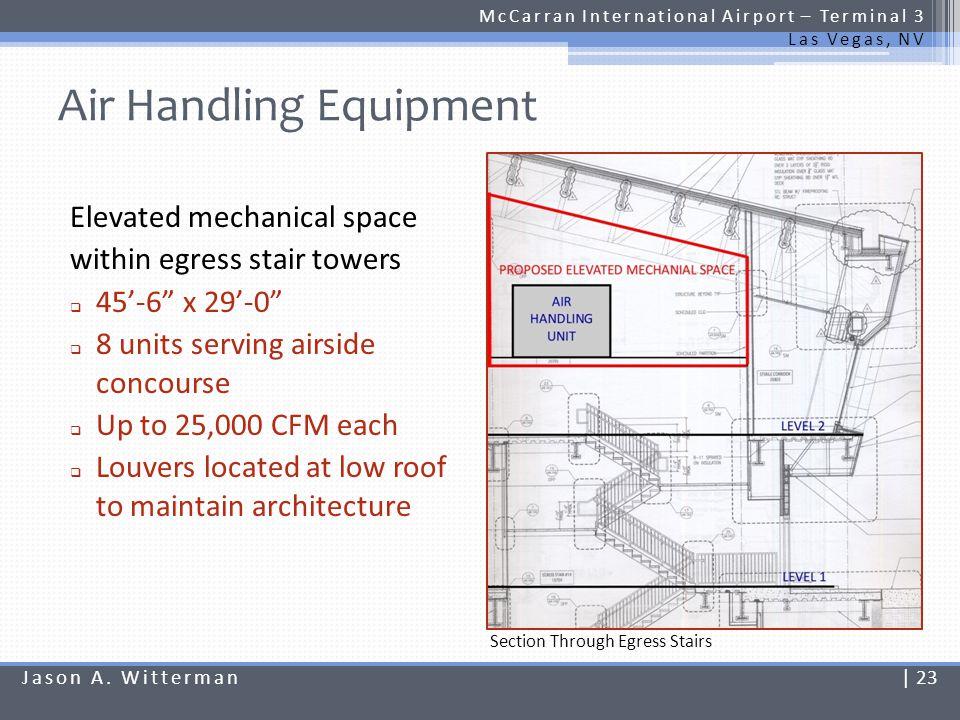 Air Handling Equipment McCarran International Airport – Terminal 3 Las Vegas, NV Elevated mechanical space within egress stair towers 45-6 x 29-0 8 un