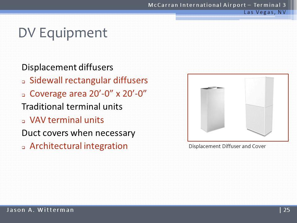 DV Equipment McCarran International Airport – Terminal 3 Las Vegas, NV Displacement diffusers Sidewall rectangular diffusers Coverage area 20-0 x 20-0