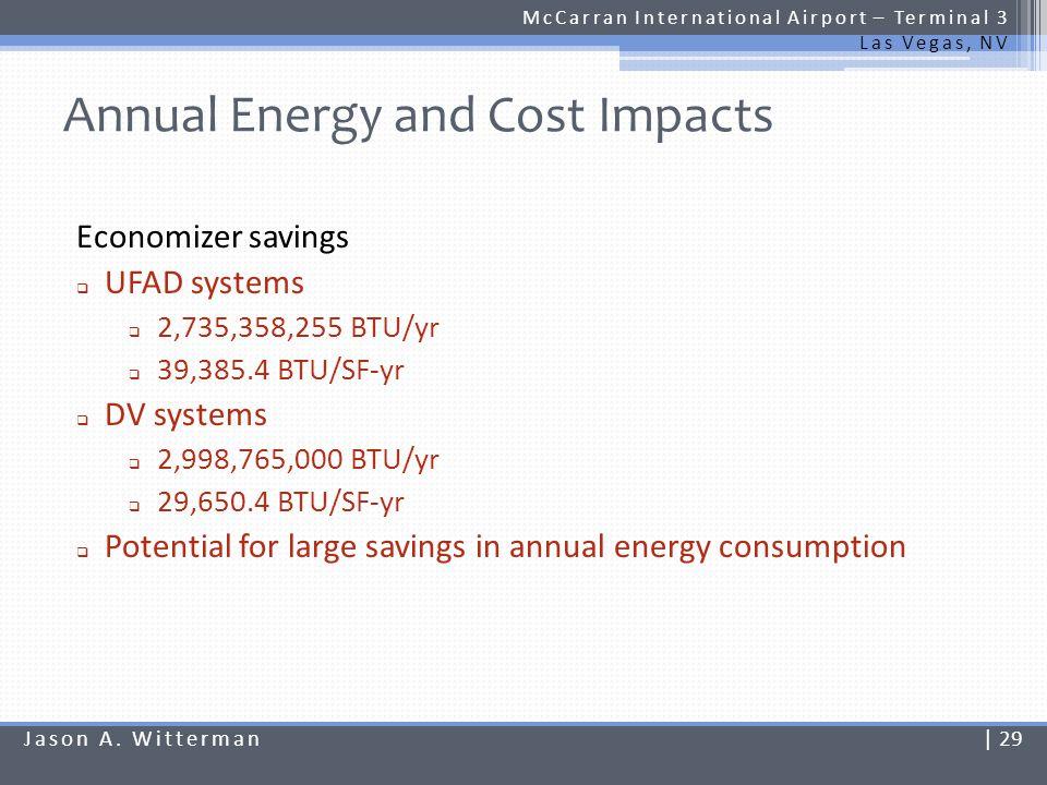 Annual Energy and Cost Impacts McCarran International Airport – Terminal 3 Las Vegas, NV Economizer savings UFAD systems 2,735,358,255 BTU/yr 39,385.4