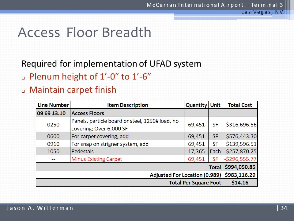 Access Floor Breadth McCarran International Airport – Terminal 3 Las Vegas, NV Required for implementation of UFAD system Plenum height of 1-0 to 1-6
