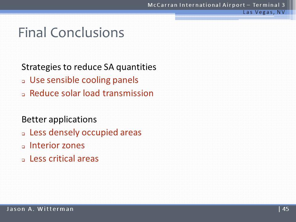 Final Conclusions McCarran International Airport – Terminal 3 Las Vegas, NV Strategies to reduce SA quantities Use sensible cooling panels Reduce sola
