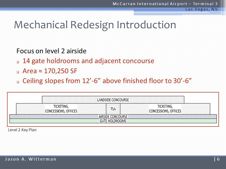 Mechanical Redesign Introduction McCarran International Airport – Terminal 3 Las Vegas, NV Focus on level 2 airside 14 gate holdrooms and adjacent con