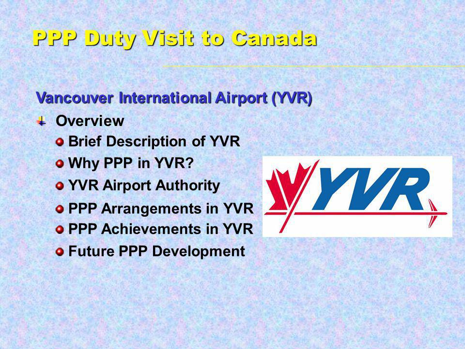 PPP Duty Visit to Canada Vancouver International Airport (YVR) Overview Brief Description of YVR Future PPP Development Why PPP in YVR.