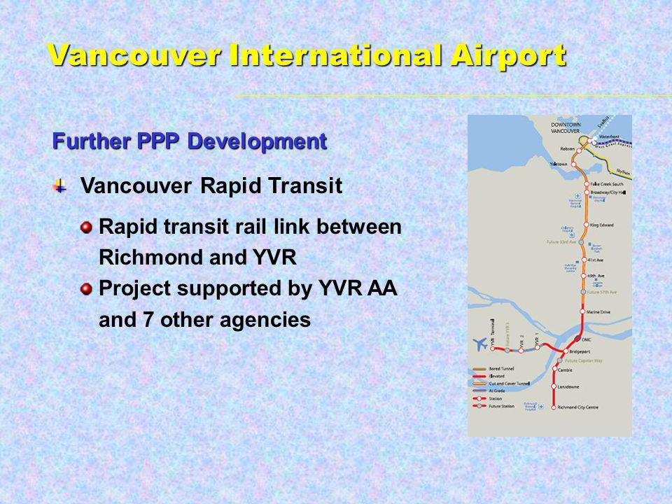 Vancouver Rapid Transit Rapid transit rail link between Richmond and YVR Project supported by YVR AA and 7 other agencies Further PPP Development Vancouver International Airport