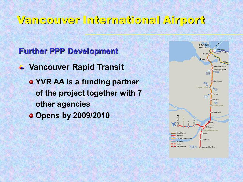 Vancouver Rapid Transit YVR AA is a funding partner of the project together with 7 other agencies Opens by 2009/2010 Further PPP Development Vancouver International Airport