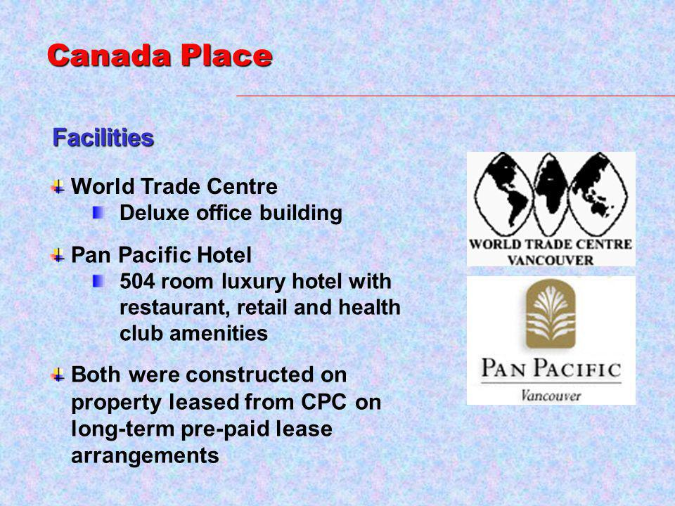 Facilities World Trade Centre Deluxe office building Pan Pacific Hotel 504 room luxury hotel with restaurant, retail and health club amenities Canada Place Both were constructed on property leased from CPC on long-term pre-paid lease arrangements