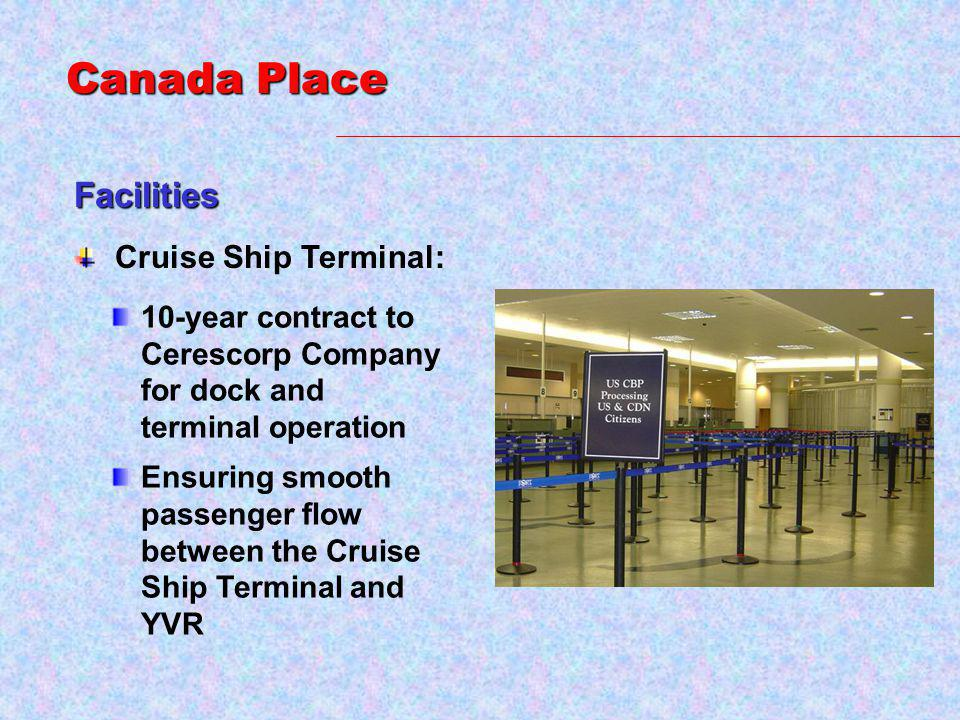 Cruise Ship Terminal: 10-year contract to Cerescorp Company for dock and terminal operation Ensuring smooth passenger flow between the Cruise Ship Terminal and YVR Facilities Canada Place