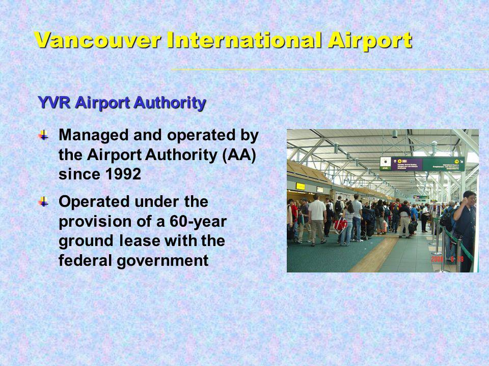 YVR Airport Authority Managed and operated by the Airport Authority (AA) since 1992 Operated under the provision of a 60-year ground lease with the federal government Vancouver International Airport