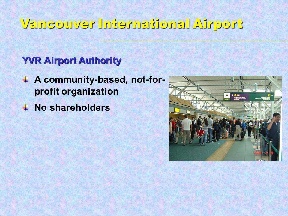 A community-based, not-for- profit organization No shareholders YVR Airport Authority Vancouver International Airport