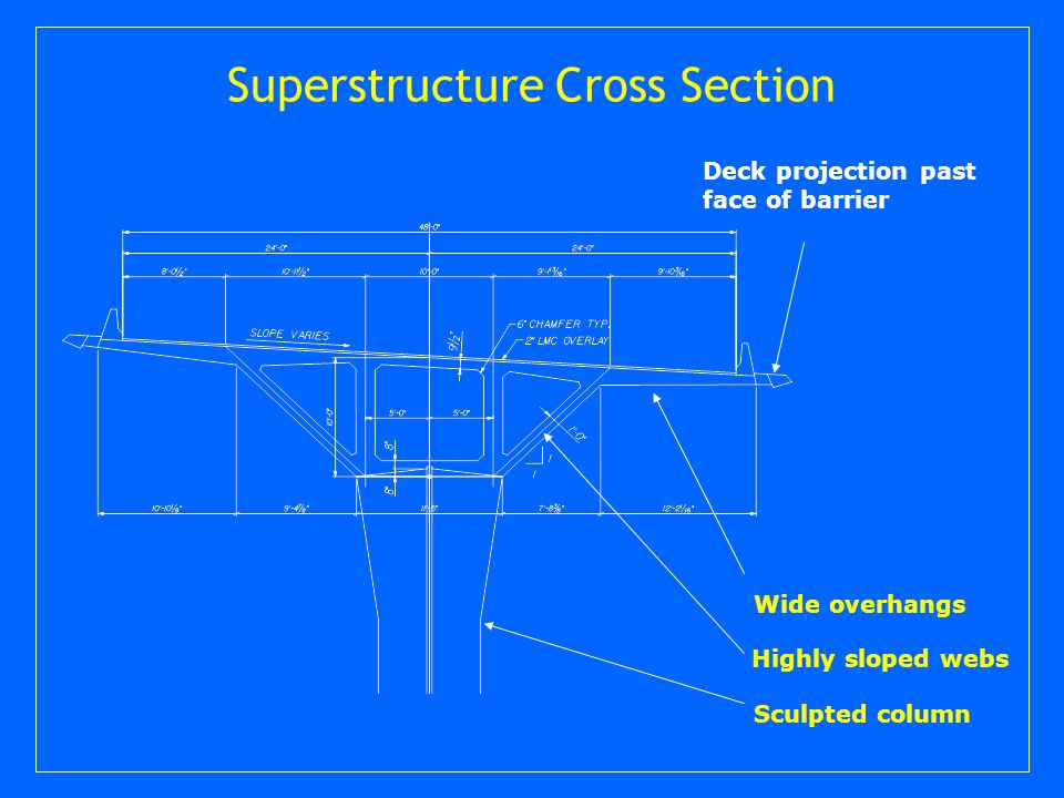 Superstructure Cross Section Wide overhangs Sculpted column Highly sloped webs Deck projection past face of barrier