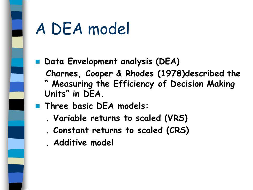 A DEA model Data Envelopment analysis (DEA) Charnes, Cooper & Rhodes (1978)described the Measuring the Efficiency of Decision Making Units in DEA. Thr