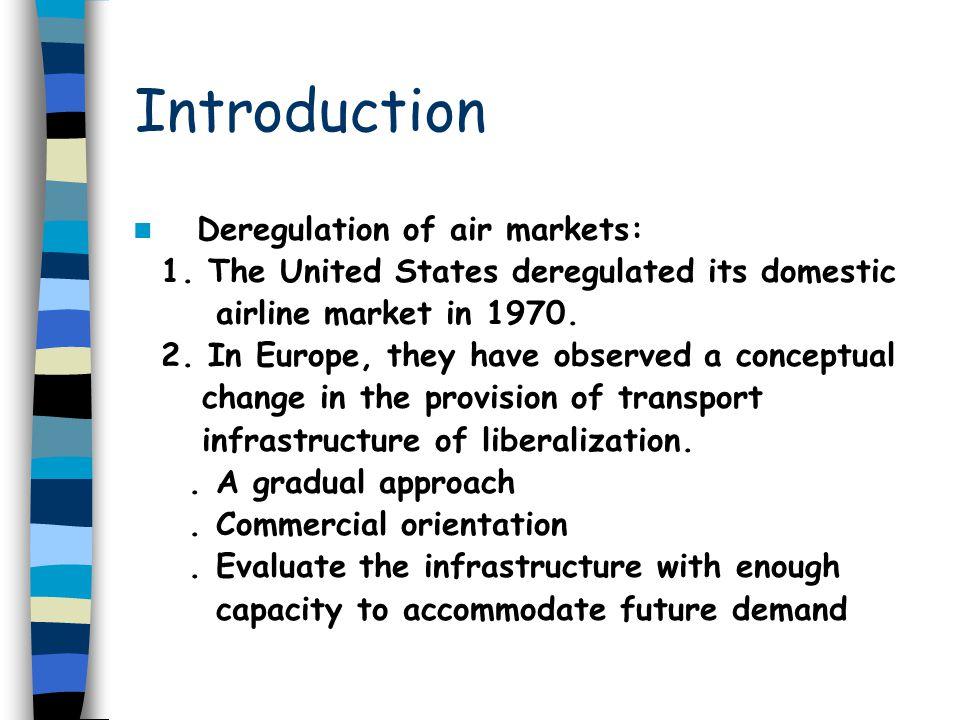 Introduction Deregulation of air markets: 1.
