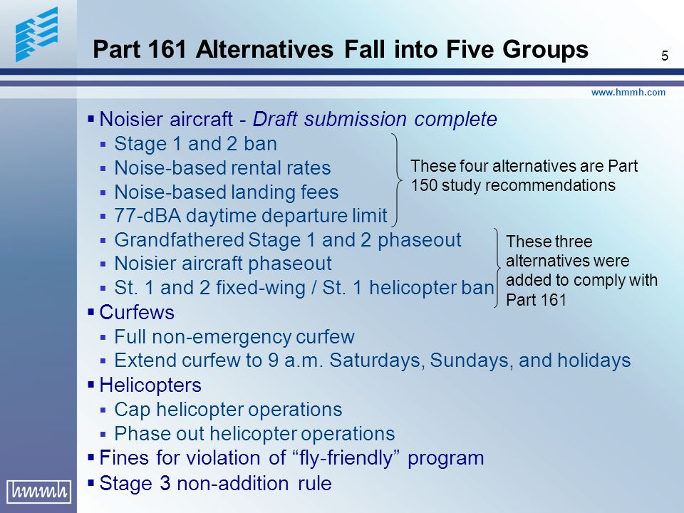 www.hmmh.com 5 Noisier aircraft - Draft submission complete Stage 1 and 2 ban Noise-based rental rates Noise-based landing fees 77-dBA daytime departure limit Grandfathered Stage 1 and 2 phaseout Noisier aircraft phaseout St.