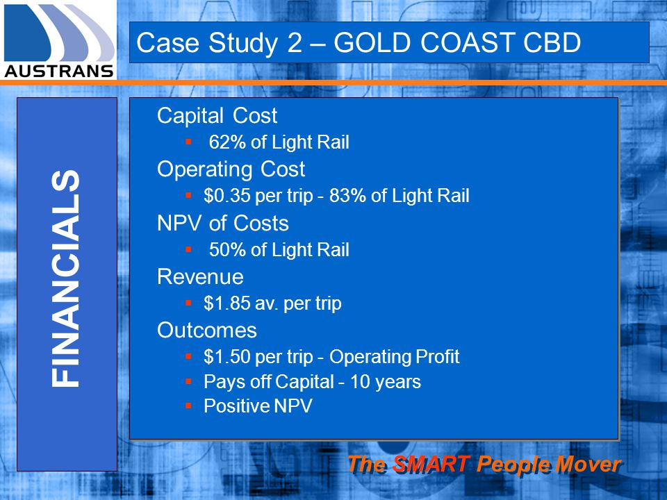Case Study 2 – GOLD COAST CBD The SMART People Mover FINANCIALS Capital Cost 62% of Light Rail Operating Cost $0.35 per trip - 83% of Light Rail NPV of Costs 50% of Light Rail Revenue $1.85 av.
