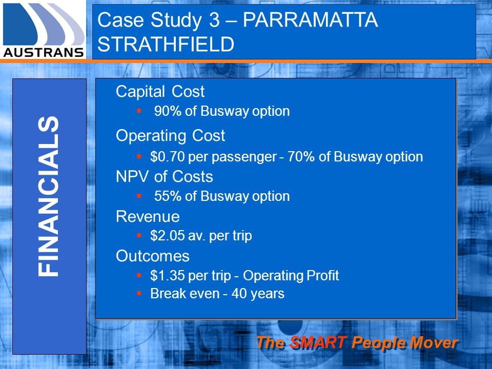 The SMART People Mover FINANCIALS Capital Cost 90% of Busway option Operating Cost $0.70 per passenger - 70% of Busway option NPV of Costs 55% of Busway option Revenue $2.05 av.