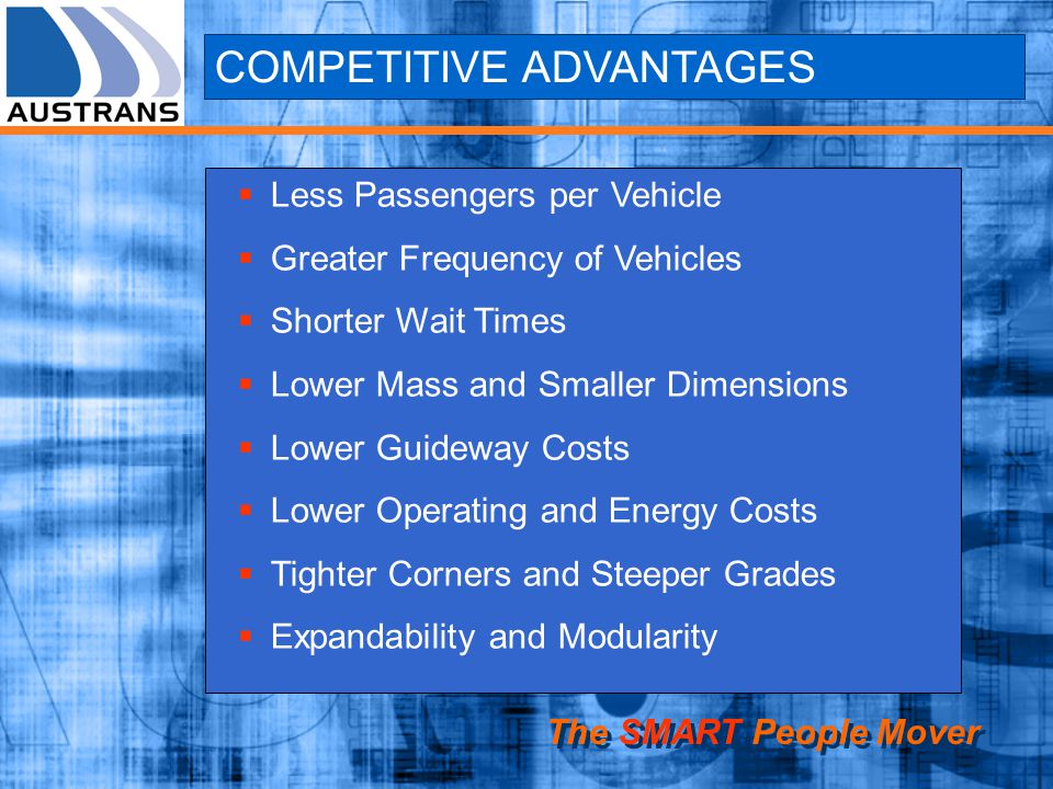 COMPETITIVE ADVANTAGES Less Passengers per Vehicle Greater Frequency of Vehicles Shorter Wait Times Lower Mass and Smaller Dimensions Lower Guideway Costs Lower Operating and Energy Costs Tighter Corners and Steeper Grades Expandability and Modularity The SMART People Mover