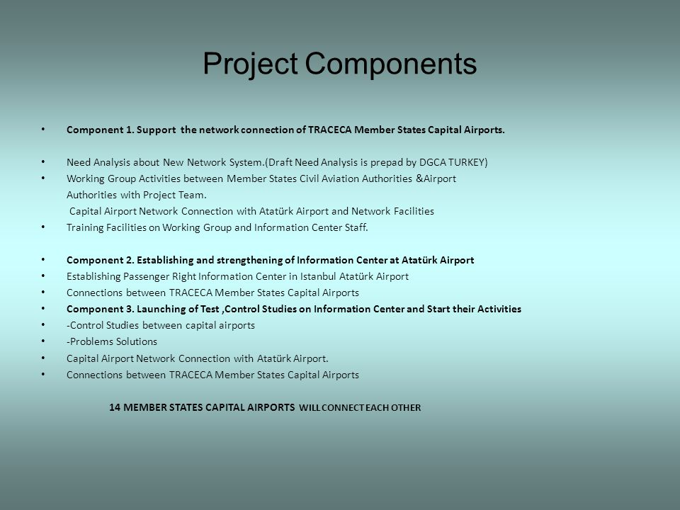 Project Components Component 1. Support the network connection of TRACECA Member States Capital Airports. Need Analysis about New Network System.(Draf