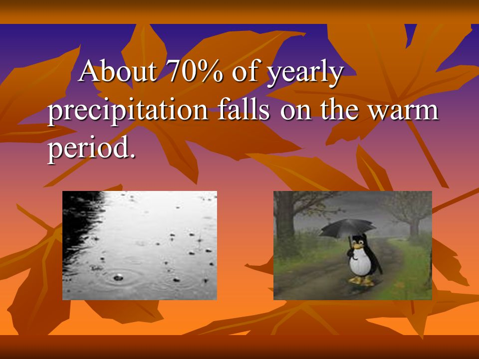 About 70% of yearly precipitation falls on the warm period.