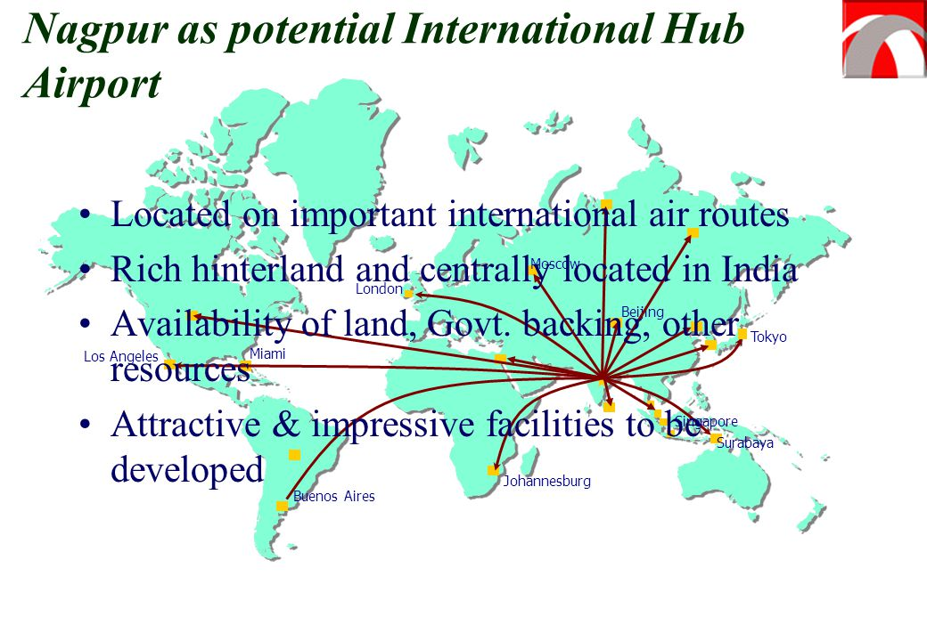 Moscow Beijing Tokyo Buenos Aires Johannesburg Los Angeles Miami Singapore Surabaya London Nagpur as potential International Hub Airport Located on im