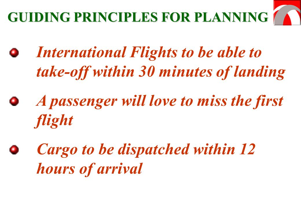 International Flights to be able to take-off within 30 minutes of landing A passenger will love to miss the first flight Cargo to be dispatched within 12 hours of arrival GUIDING PRINCIPLES FOR PLANNING