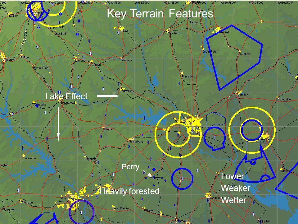 Lake Effect Lower Weaker Wetter Heavily forested Perry Key Terrain Features