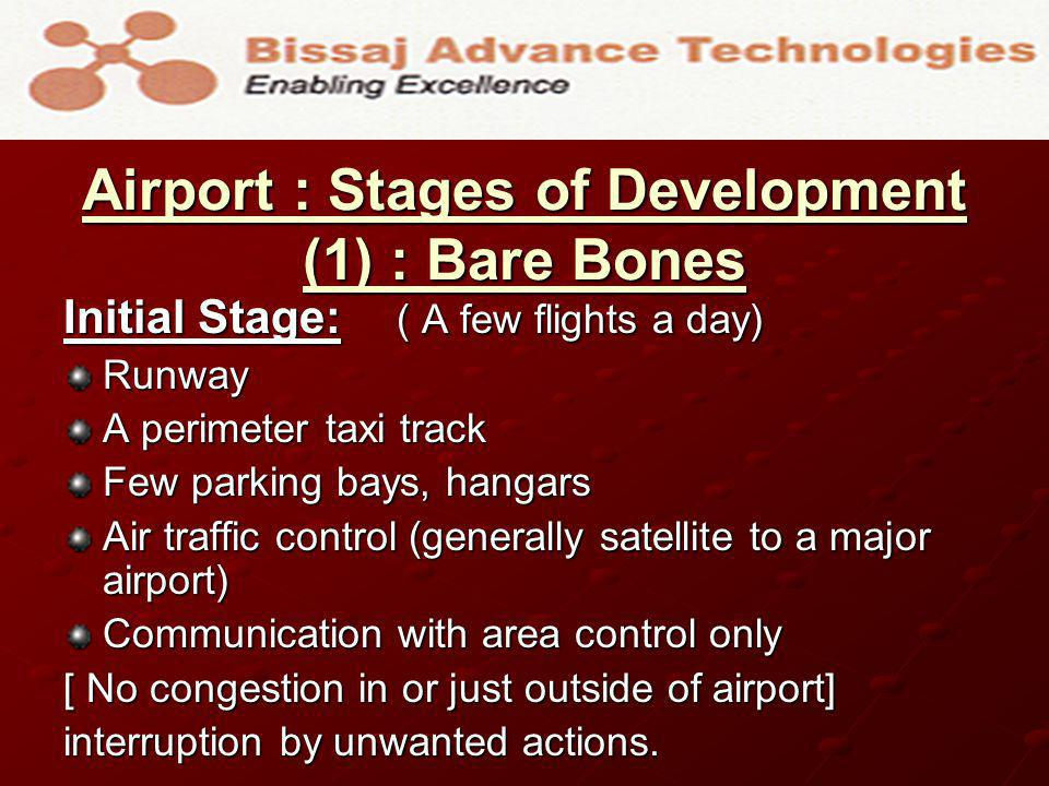 Airport : Stages of Development (2) : Getting Bigger Initial Growth Stage : ( Many flights a day, multiple destinations) Runway Many taxi tracks Add on parking bays, hangars Air traffic control (many functions added) Communication with many nodes [ Increased Complexity but still manageable.