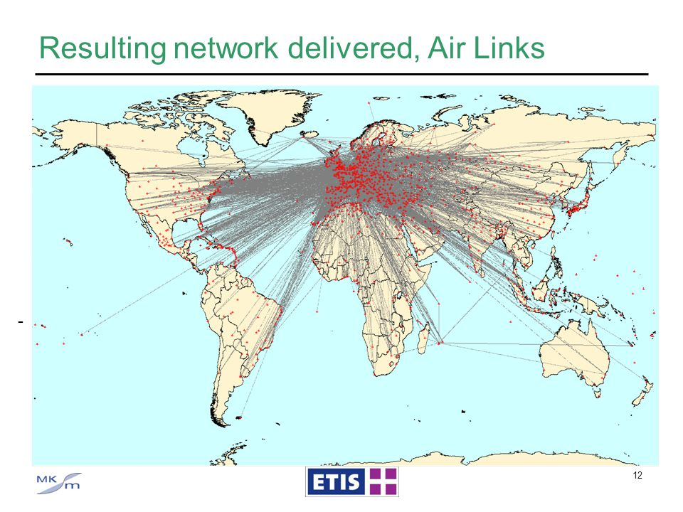 12 Resulting network delivered, Air Links Air links consisting of - Notes:- links include surface connections (e.g. LHR LGW) - Air connections like Fr