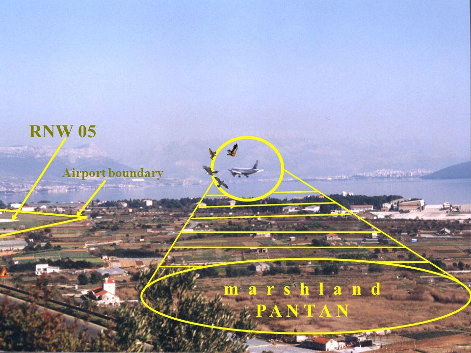 m a r s h l a n d P A N T A N RNW 05 Airport boundary