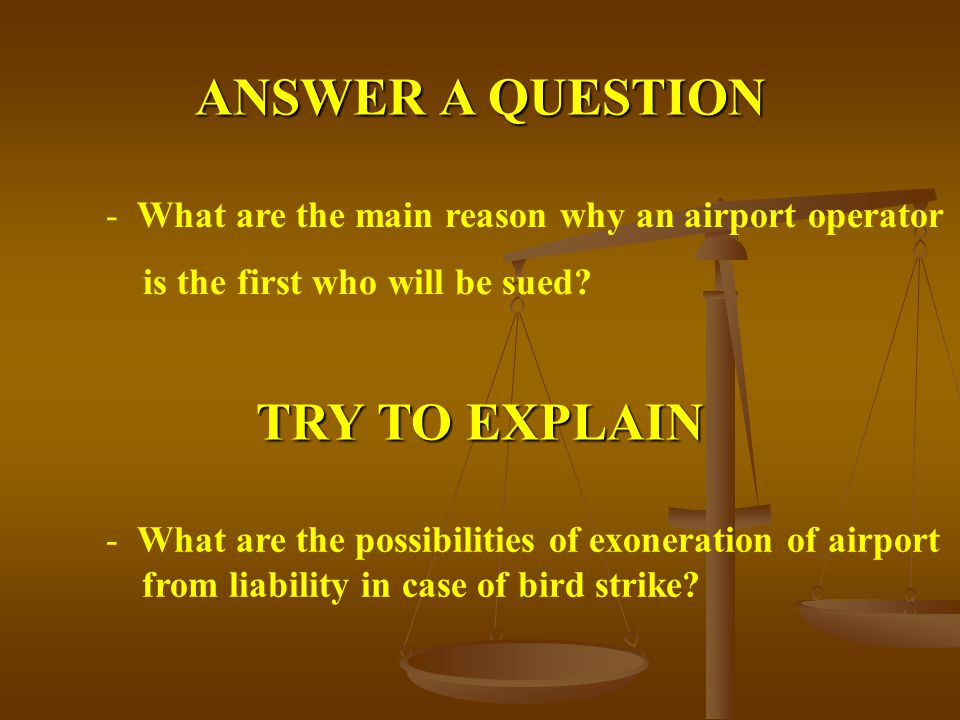 ANSWER A QUESTION - What are the main reason why an airport operator is the first who will be sued.
