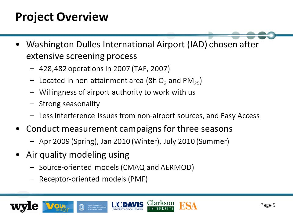 Project Overview Washington Dulles International Airport (IAD) chosen after extensive screening process –428,482 operations in 2007 (TAF, 2007) –Located in non-attainment area (8h O 3 and PM 25 ) –Willingness of airport authority to work with us –Strong seasonality –Less interference issues from non-airport sources, and Easy Access Conduct measurement campaigns for three seasons –Apr 2009 (Spring), Jan 2010 (Winter), July 2010 (Summer) Air quality modeling using –Source-oriented models (CMAQ and AERMOD) –Receptor-oriented models (PMF) Page 5