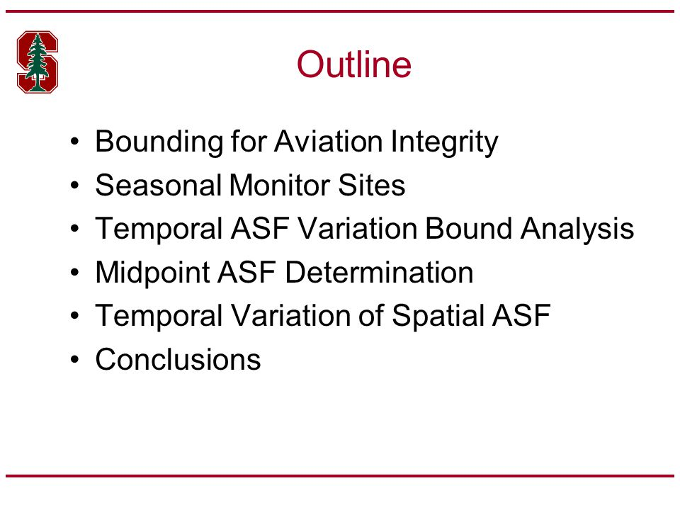 Outline Bounding for Aviation Integrity Seasonal Monitor Sites Temporal ASF Variation Bound Analysis Midpoint ASF Determination Temporal Variation of Spatial ASF Conclusions