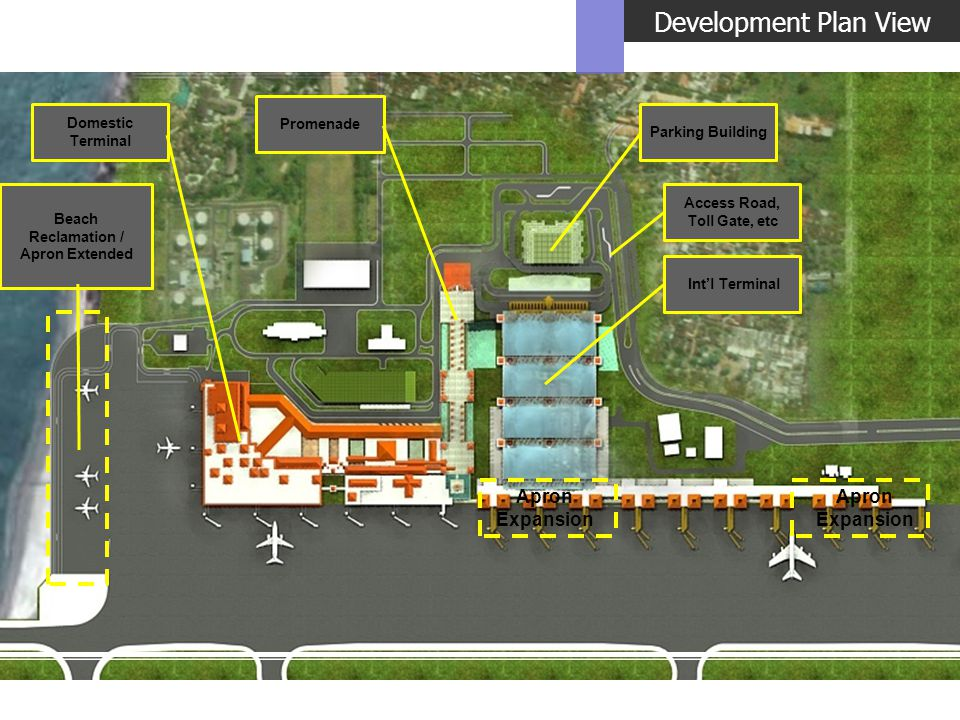 Development Plan View Parking Building Intl Terminal Promenade Domestic Terminal Beach Reclamation / Apron Extended Apron Expansion Access Road, Toll