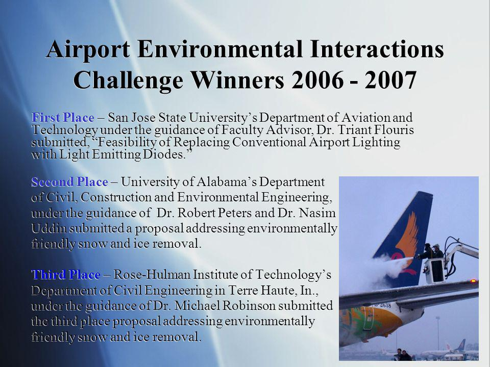 Airport Environmental Interactions Challenge Winners First Place – San Jose State Universitys Department of Aviation and Technology under the guidance of Faculty Advisor, Dr.